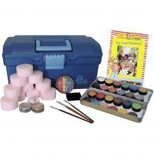 Ansigtsfarve - Kuffert m. 24 farver og tilbehør