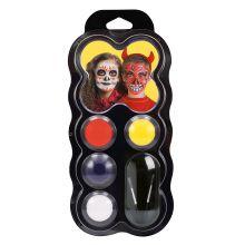 Ansigtsfarve - Palette m.  4 farver - Halloween