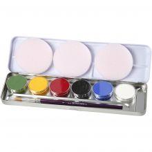 Ansigtsfarve - Palette m. 6 farver, Basis
