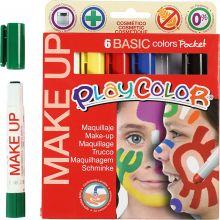 Ansigtsfarve - Tegnestifter Basisfarver, 6 stk