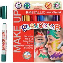 Ansigtsfarve - Tegnestifter Metallic, 6 stk