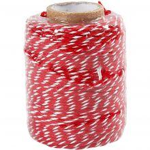 Bomuldssnor - Rød/hvid, 50 meter