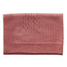 Dukke tilbehør - Strikket tæppe, Rosa (60 x 60 cm)
