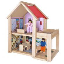 Dukkehus i bøgetræ inkl. dukker og møbler