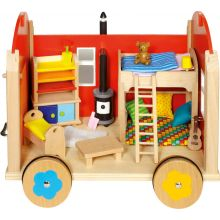 Dukkehus på hjul med tilbehør, 24 dele