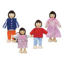 Dukkehus tilbehør - Dukkefamilie, mørkt hår
