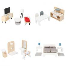 Dukkehus tilbehør - Møbelsæt til 4 værelser