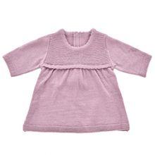 Dukketøj - Strikkjole, blommefarvet - Flere str.