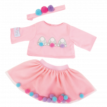 Dukketøj - Skørt + bluse m. pom pom, 45 cm.
