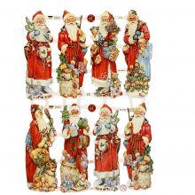 Glansbilleder - Julemænd, 3 ark