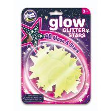 Glow - Stjerner m. glimmer, 40 dele