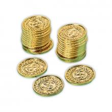 Guldmønter i plastic, 72 stk.