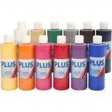 Hobbymaling 250 ml. - Basisfarver, 12 stk
