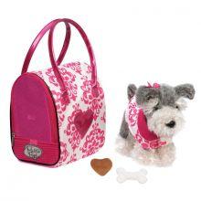 Hund i taske, pink - Schnauzer