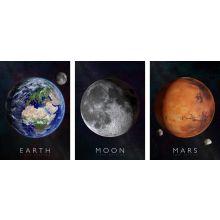 Interaktiv plakater 3-i-1 - Jorden, Månen & Mars