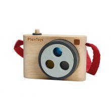 Kamera i træ med 3 farvede linser