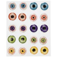Klistermærker - Øjne 3D, Ø 20 mm, 1 ark