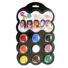 Ansigtsfarve - Palette m. 9 farver - Karneval