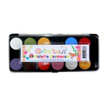 Ansigtsfarve - Palette m. 12 farver