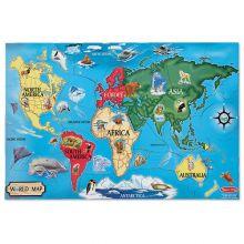 Puslespil til gulv - Verdenskort med dyr