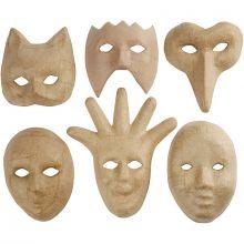 Masker i papmaché, 6 stk