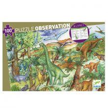 Observationspuslespil m. 100 brikker - Dinosaur