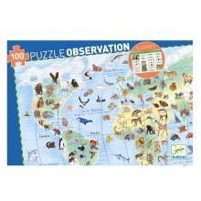 Observationspuslespil m. 100 brikker - Verdens dyr