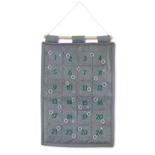 1-24 pakkekalender m. ringe til ophæng, grå