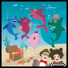 Popsi og Krelle Megakort - Baby Shark