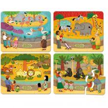 Puslespil i træ - Zoo, 4 x 6 brikker