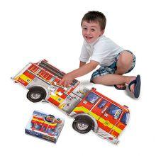 Puslespil til gulv - 24 brikker Brandbil