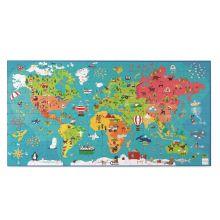Puslespil til gulv - Verdenskort, 150 brikker