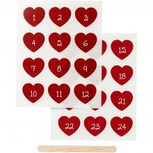 Stickers til tekstildekoration - Kalendertal, røde