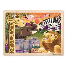 Træpuslespil m. 24 brikker - Afrikas dyr
