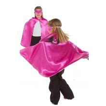 Udklædning - Vendbar kappe, Pink/sølv superhelt