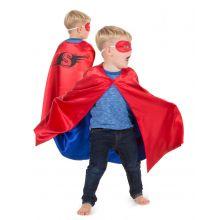 Udklædning - Vendbar kappe, Rød/blå superhelt