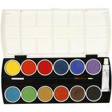 Vandfarver - Basisfarver inkl. dækhvid, 12 stk.